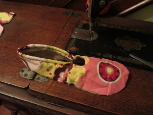 Upper slipper piece and heel band sewn together.  Really starting to look like something now!
