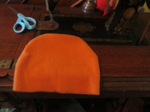 Hat body piece sewn and turned right-side out.