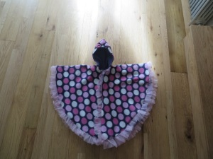 Basic circular car seat poncho with tulle.